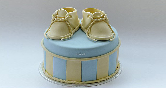 Baby bootees cake