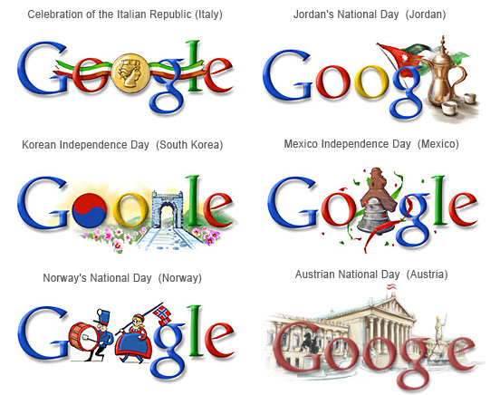 Google Various Nation Day Doodles