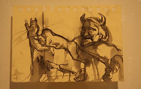 Golden Bull Fart Sculpture