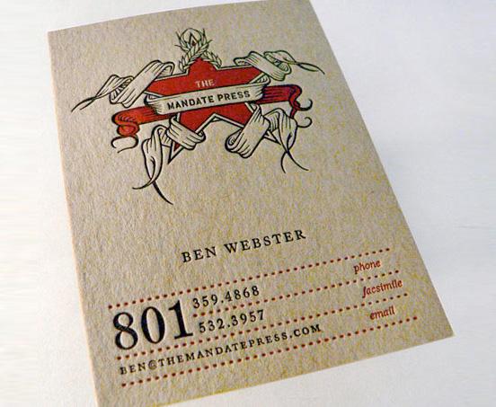 The Mandate Press businesscards