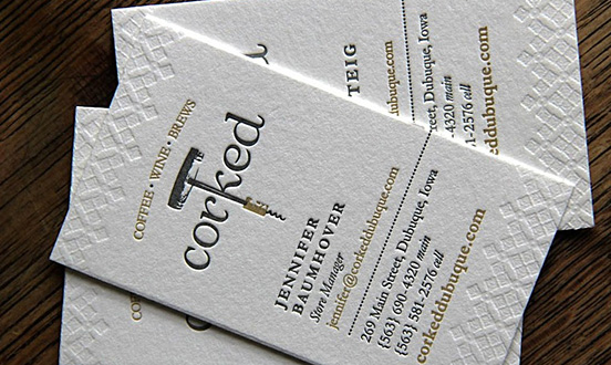 Corked Letterpress Business Card