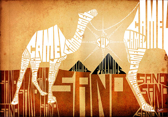 Camel & Pyramids Typography