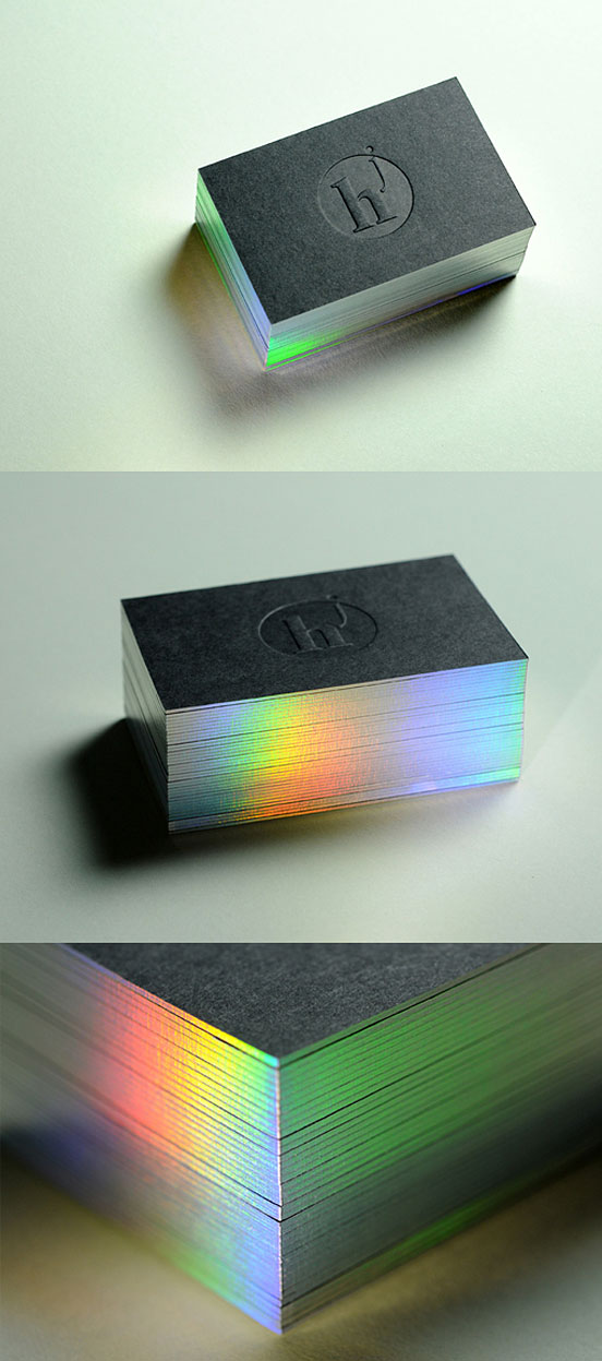 Diffraction Edge Painted Letterpress Business Card