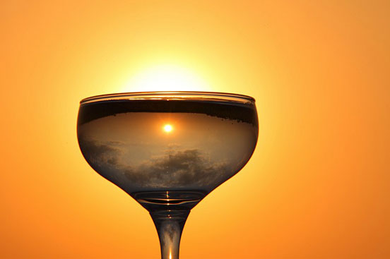 Nature's Beauty inside the Champagne Glass