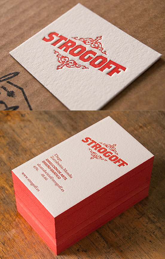 Textured Red Edge Painted Letterpress Business Card