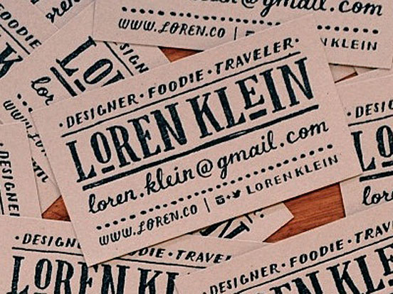 Rubber Stamped Business Cards