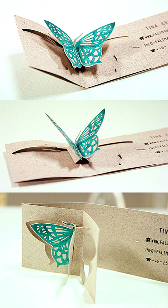 Gorgeous Pop Up Butterfly Business Card