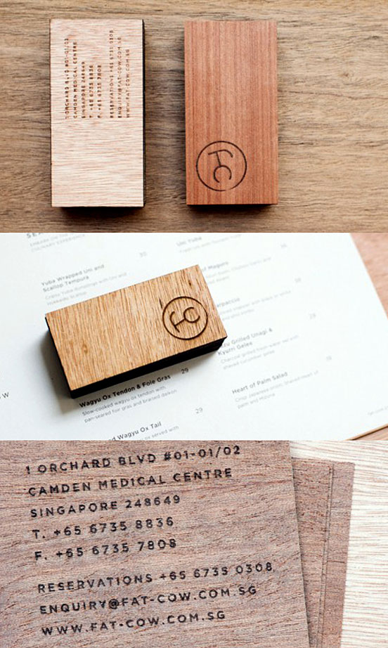 Stylish Laser Etched Wooden Business Cards