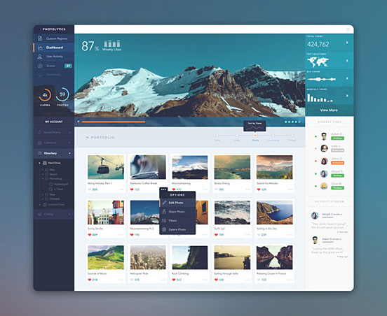 PhotoLytics Dashboard UI by Balraj Chana