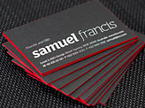 Bright Neon Red Edge Painted Business Cards