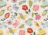Cute Pattern of Birds and Flowers