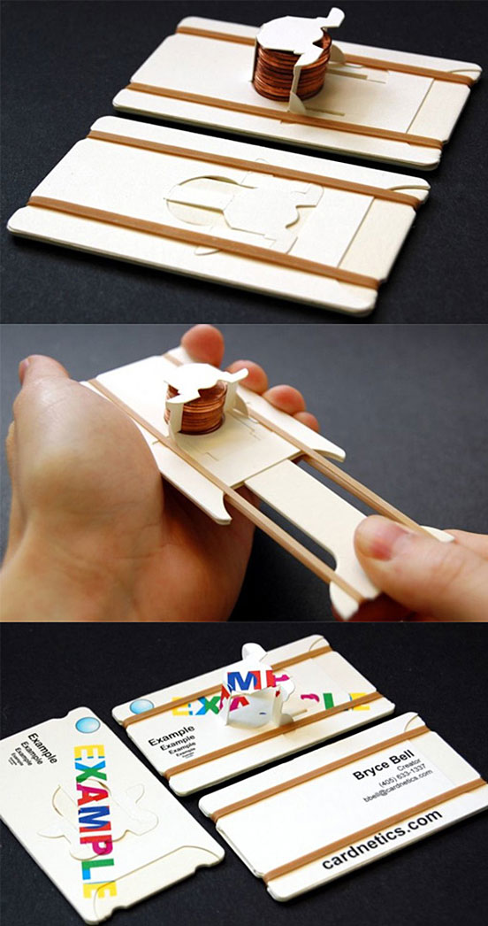 Clever Interactive Penny Shooter Business Cards