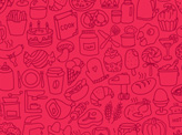 Hand Doodle Food Icons Pattern