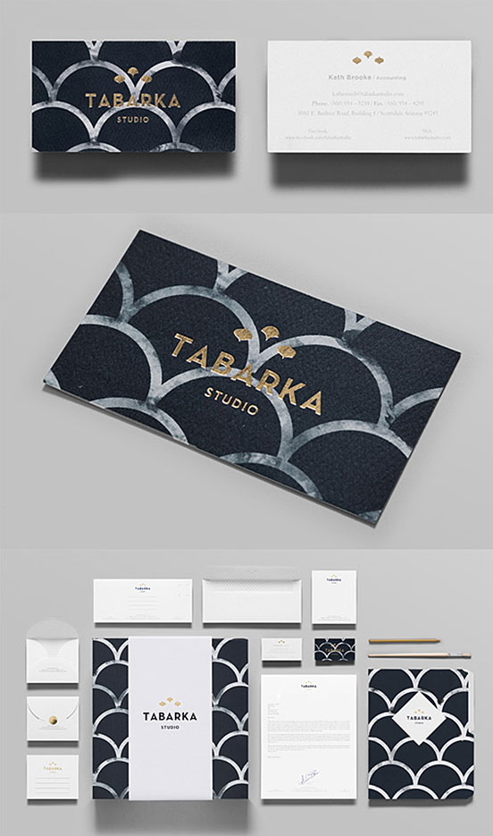 Textured Gold Foil Stamped Business Cards