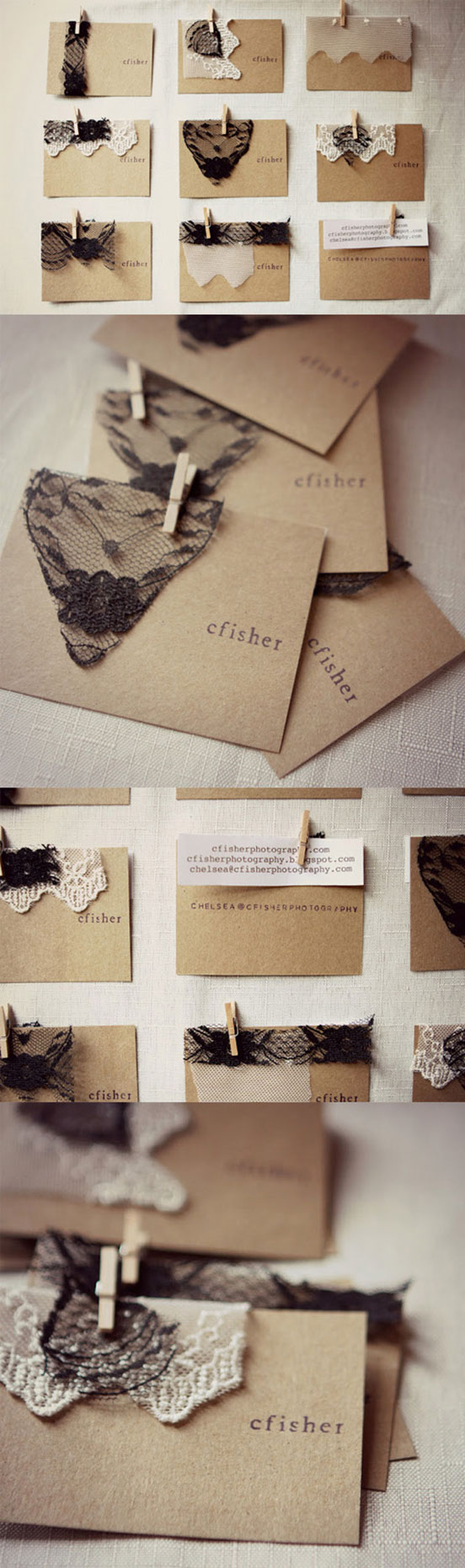 Unique Tactile Lace DIY Business Cards
