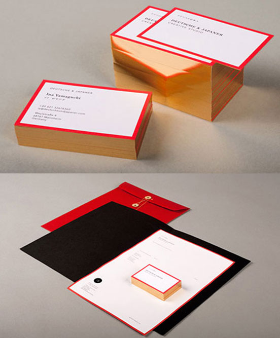 Rich Red And Gold Business Cards