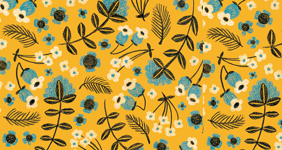 Yellow Folksy Floral