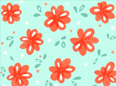 Cheerful Red Flowers Pattern