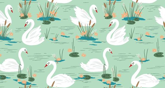 White Swans Seamless Pattern