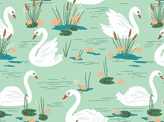 White Swans Seamless Pattern