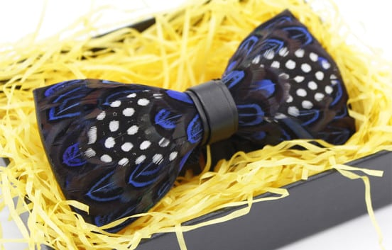 blue-polka-dot-feather-bow-tie