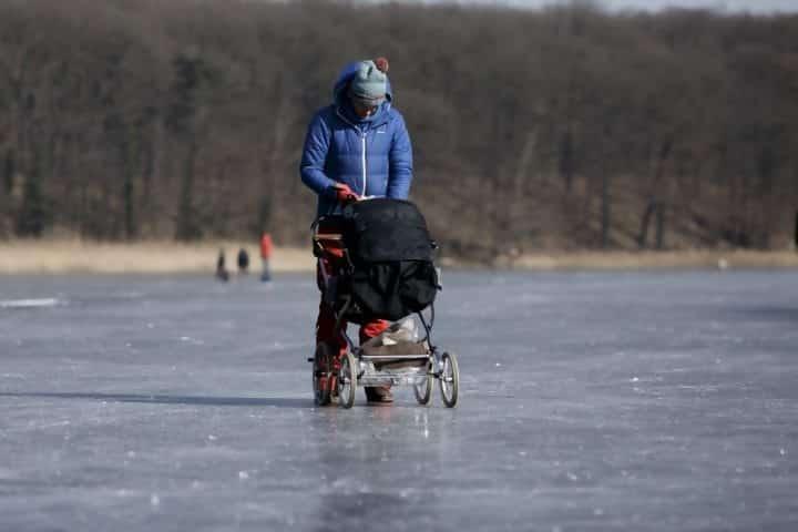 Person on frozen lake
