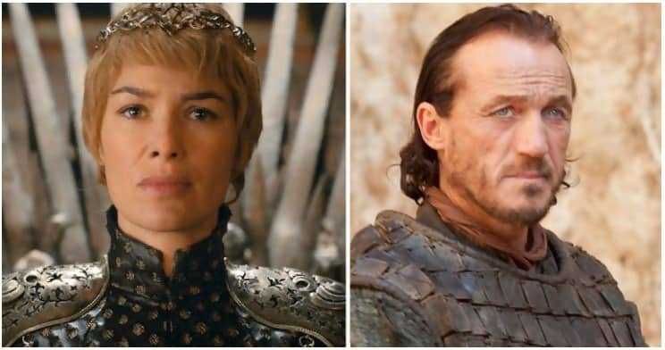 Cersei and Bronn, played by Lena Headey and Jerome Flynn respectively, in separate scenes.