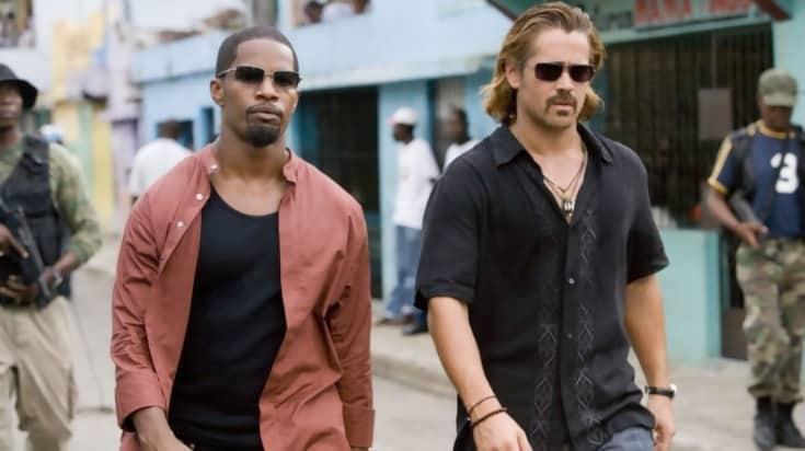 Jamie Foxx and Don Johnson in sun glasses in Miami Vice