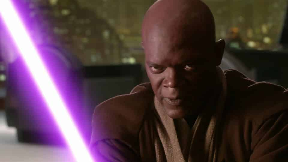 Mace Windu fights with his purple lightsaber in Star Wars: Attack of the Clones.