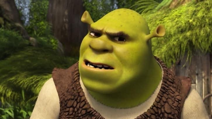 Shrek looks concerned in the 2001 original movie Shrek.