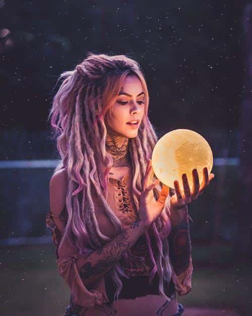 Woman Holding 3D Moon Lamp Led Lights Decoration
